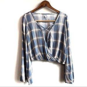 Blue Plaid Cross Front Bell Sleeve Summer Blouse